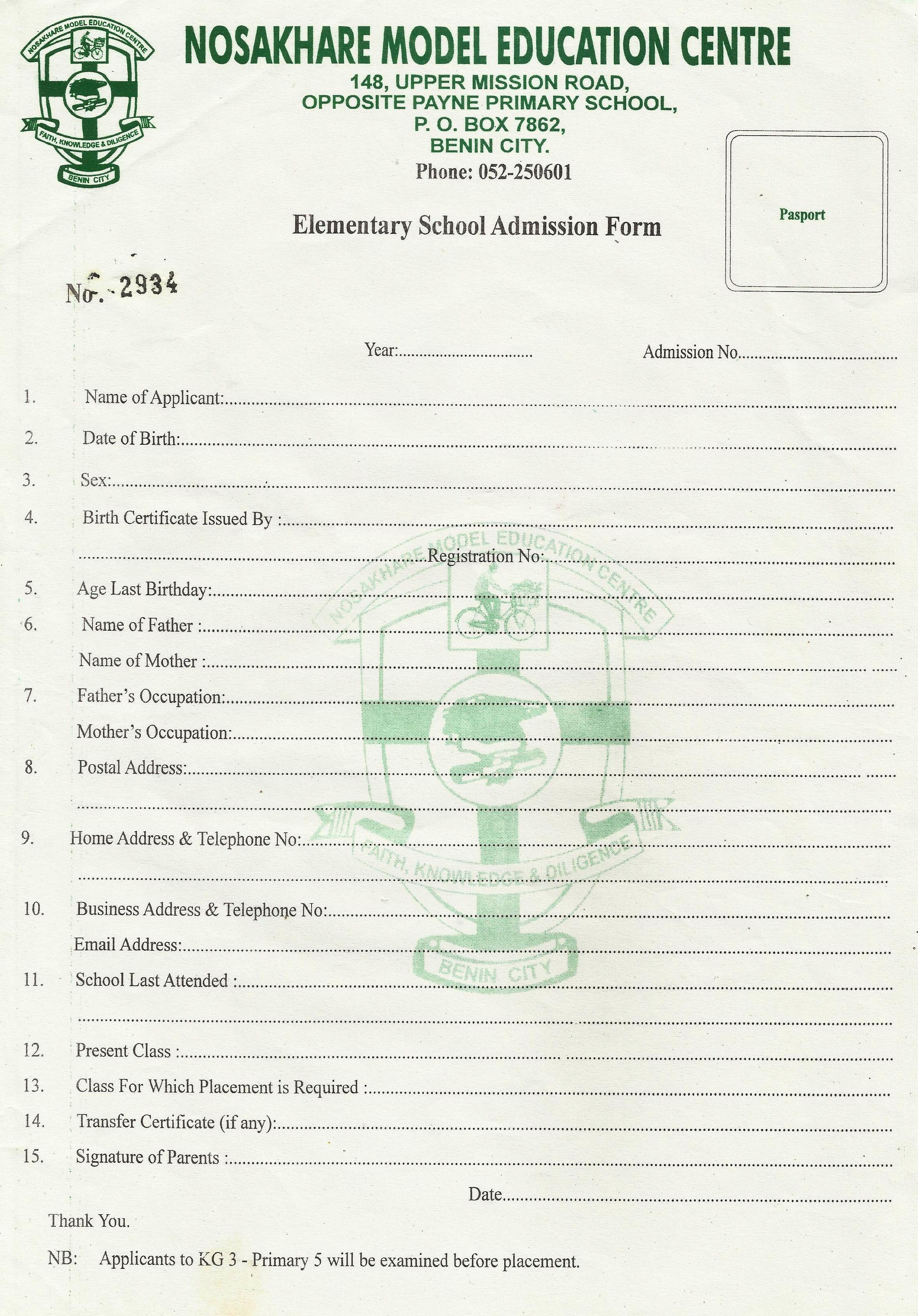 Elementary School Admission Form NOSAKHARE MODEL EDUCATION CENTRE – Form for School Admission